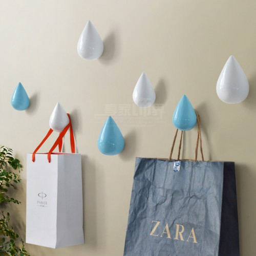 new Brief Modern Water Drop Design Resin Single Hooks Hat Coat Clothes Towel Robe Hooks Bath.jpg 640x640