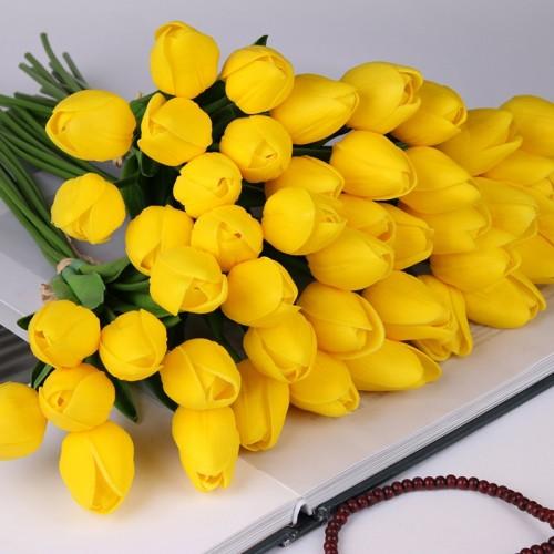 10PCS Tulip Artificial Flower Latex Real Touch Bridal Wedding Bouquet Home Decor decorate Artificial Flowers Bouquet