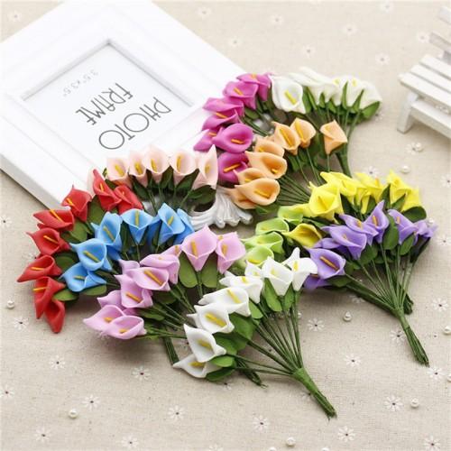 144pcs Mini Foam Calla Lily Fake Flowers Bouquet Artificial Flowers for Decoration Wedding Decoration Valentine