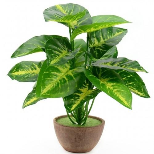 1Bunch 18 leaves Artificial Silk Green Scindapsus Aureus Leaf for Wedding Decorations Fake Bonsai Tree Plant