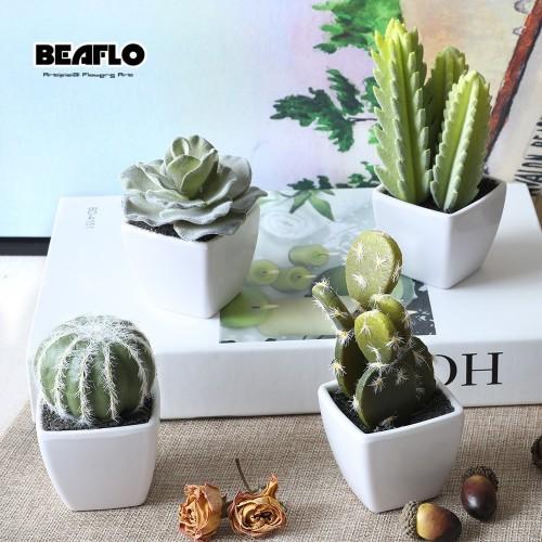 1Set Mini Potted Succulents Cactus Bonsai Artificial Flower Fake Floral for Wedding Home Party Decorative