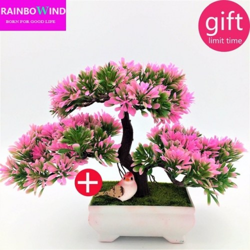 1pc Welcoming Pine Bonsai Simulation Decorative flowers and wreaths Artificial Flowers Fake Green Pot Plants Home