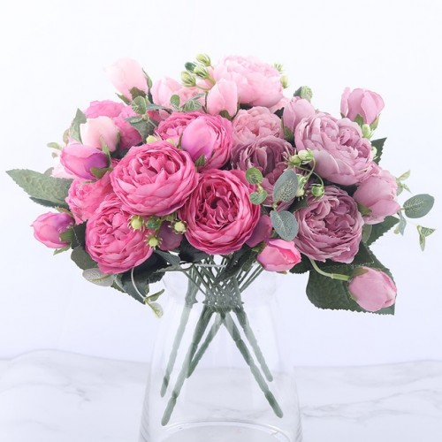 30cm Rose Pink Silk Peony Artificial Flowers Bouquet 5 Big Head and 4 Bud Cheap Fake