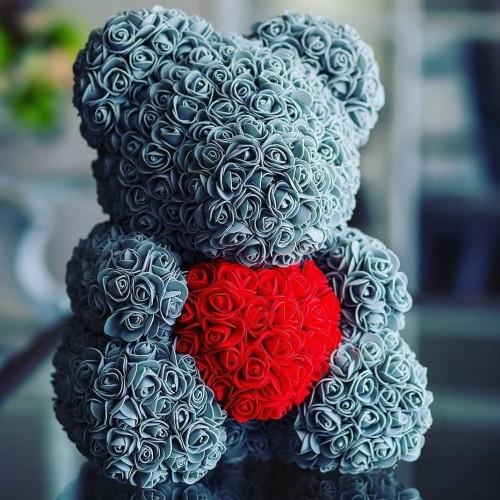 40cm Bear of Roses Artificial Flowers Home Wedding Festival DIY Cheap Wedding Decoration