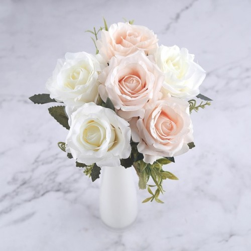 6 Heads White Rose Artificial Flowers Silk High Quality for Wedding Decoration Winter Fake Big Flowers