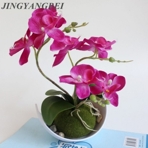 Artificial Butterfly Orchid Potted plants silk Flower with Plastic pots moss Home Balcony Decoration vase set