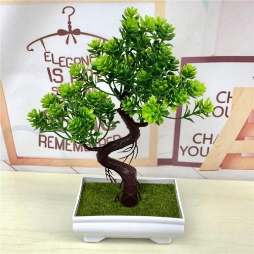 Artificial Green Plants Bonsai Simulation Plastic Small Tree Pot Plant Potted Ornaments Christmas Home Garden Decoration
