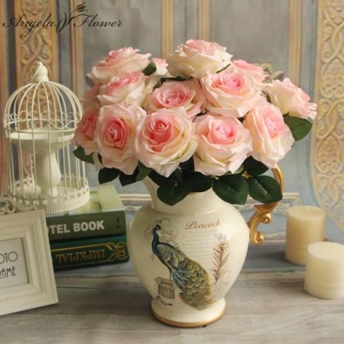 Cheap 7 9 10 heads one bundle artificial rose bouquet silk decorative flower wedding party Christmas