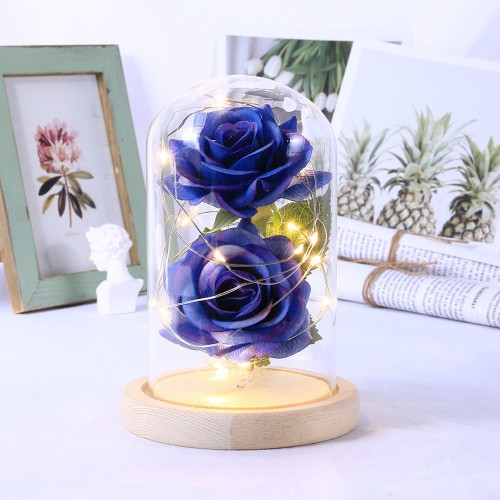 LED Beauty Rose Beast Battery Powered Red Flower String Light Desk Lamp Romantic Birthday Holiday Girls