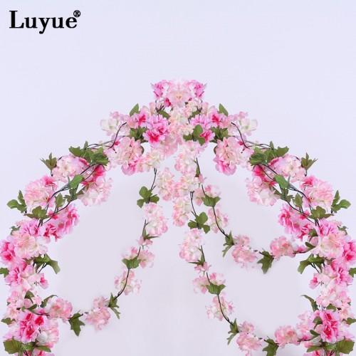 Luyue 233cm Artificial Cherry Blossoms Flower Vines party supplies Garland Silk Fake Cherry Flower Rattan Wedding