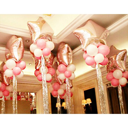 Big Star Balloon Latex Balloons Sliver cord ribbon wedding balloons Brithday party wedding decoration Mylar