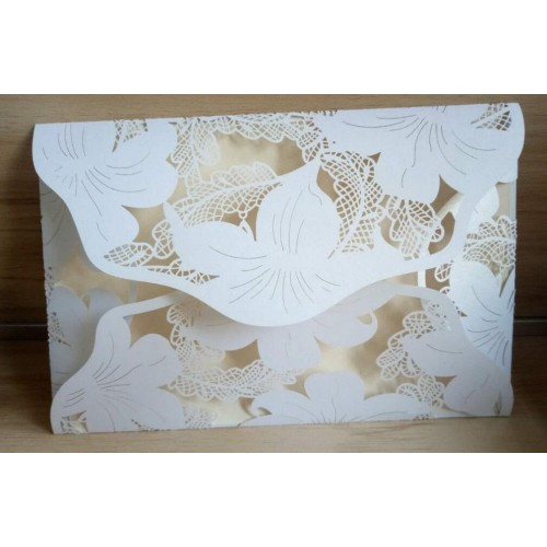 10pcs White damask Flower Business Party Birthday Laser Wedding invitation card no envelope no