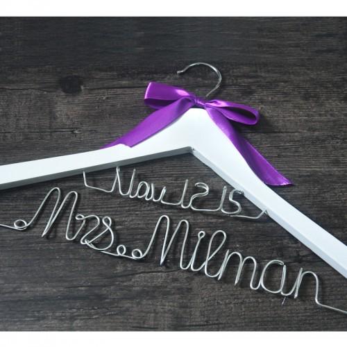 Personalized wedding hanger custom Brides Hanger Bridal Dress Hanger wedding hanger with purple bow wedding gift