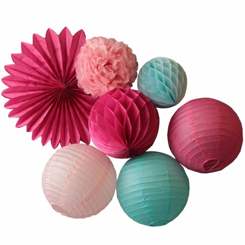 Pink Fuchsia Blue Party Decoration Set Hanging Paper Fan Paper Lanterns Honeycomb Ball Tissue Paper