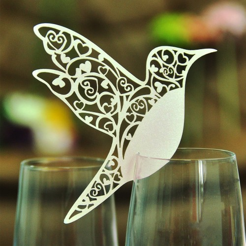 Place Card Flying Birds Cups Glass Wine Wedding Name Cards Laser Cut Pearlscent Paper