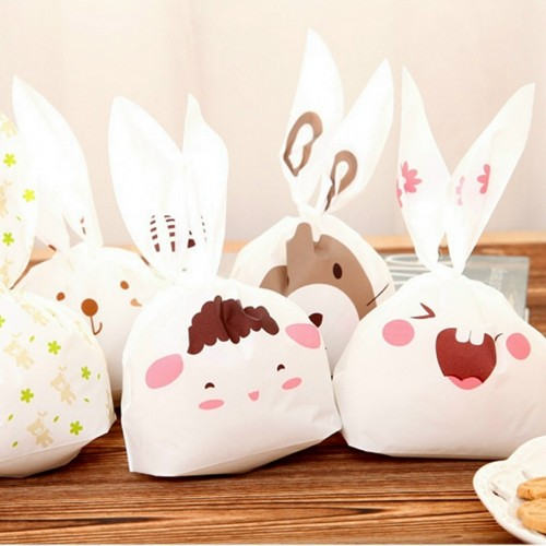 Rabbit Ear Cookie Bag Plastic Packaging Biscuit Candy Gift Bags Cute Cartoon Wedding Party