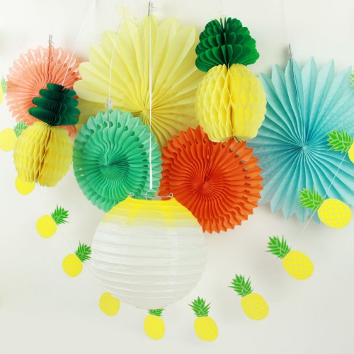 Summer Party Decoration Set Lantern Paper Fans Pineapples Garland Tropical Hawaiian Birthday Bridal