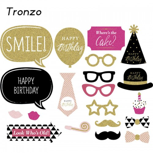 Tronzo New Gold Shinning Happy Birthday Decoration Photo Booth 20pcs Paperboard Glasses Cupcake Funny Birthday Party