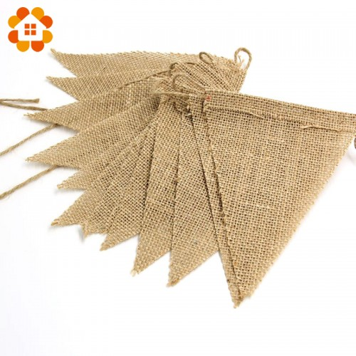 Vintage Jute Hessian Burlap Bunting Banner Wedding party Photography