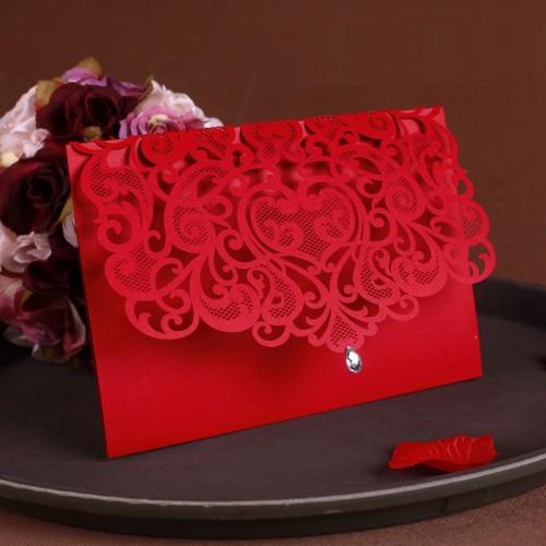 Vintage Wedding Supplies China Laser Cut Luxurious Wedding Invitations Red Elegant Wedding Invitation Paper