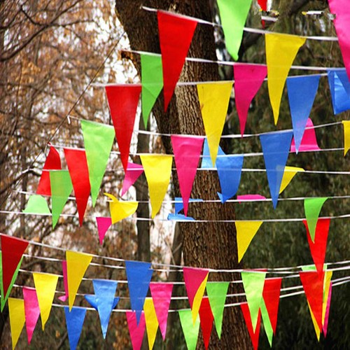 Wedding Festival Pennant String Banner Buntings Colorful 80m Triangle Flag Festival Party Holiday Decoration Christmas Strap