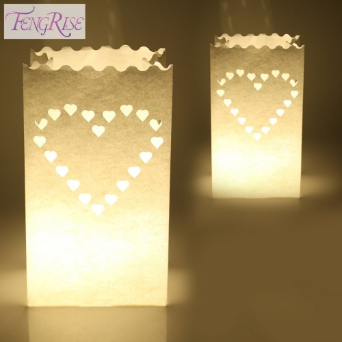 Wedding Heart Tea Light Holder Luminaria Paper Lantern Candle Bag