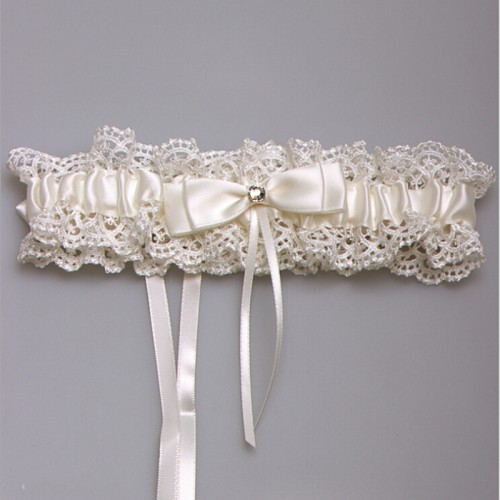 Western Style NEW Elegant Bowknot Lace Wedding Garter Set Pearl Bridal Leg Garter Belt Lace Bride