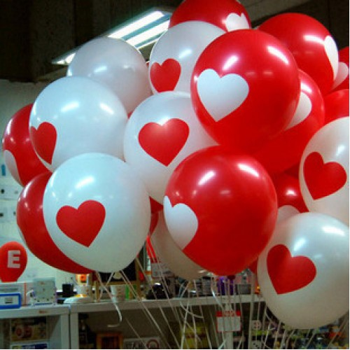 White Red Lovely round heart wedding balloons Birthday wedding Decoration Marriage Balloons
