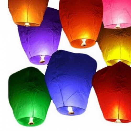 Wishing Lamp Round Paper Chinese Lanterns Flying Paper Sky Lanterns For Festive Events