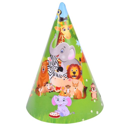 6 Pieces Jungle Party Paper Hat Happy Birthday Decoration Supplies Theme Party Kids Caps