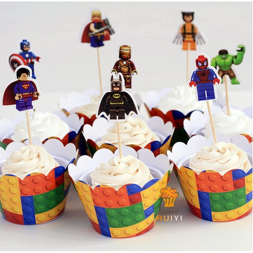 superman batman captain America cupcake wrappers kids birthday party supplies cupcake cases cupcake topper