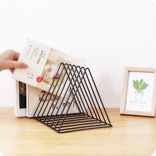 Modern Desktop Book Storage Shelf Metal Iron Bookshelf Magazine Display Stand Office Decoration Bookshelf Bookend