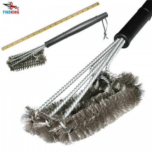 Rugged Grill Cleaning Brush BBQ tool Grill Brush 3 Stainless Steel Brushes Provides