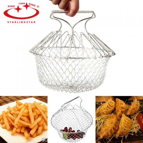 Satrlinkstar BBQ Foldable Fry Basket Steam Magic Basket Mesh Basket Strainer New Kitchen Cooking Tools