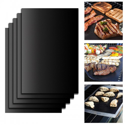 Set Reusable BBQ Grill Mat Pad Sheet Hot Plate Portable Nonstick Bakeware