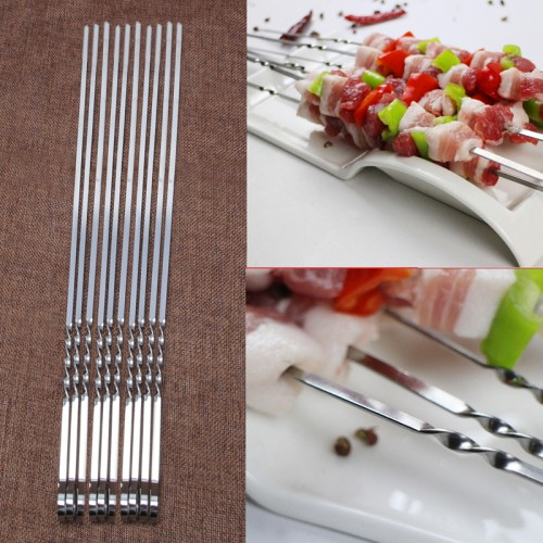Stainless Steel Flat Meat Skewers For Outdoor BBQ Barbecue