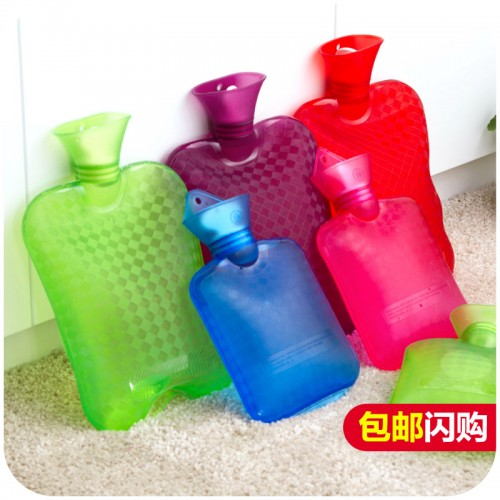 Free shipping thick pvc transparent water bottle water filled rubber hot water bottle explosion