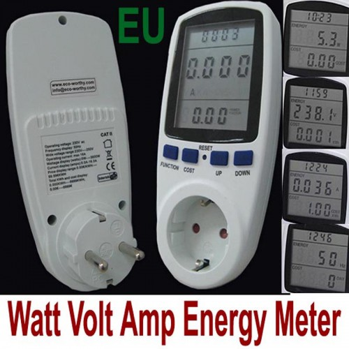 High Quality EU Plug LCD Digital Energy Meter Power Meter Wattmeter Watt Voltage meter