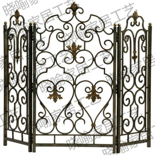 High grade wrought iron floor mantel Wai flameproof enclosure