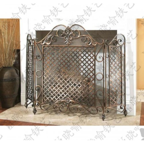 Wrought iron fireplace flameproof enclosure