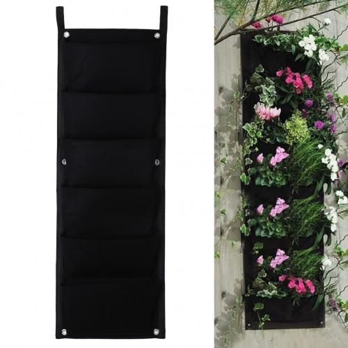 Black Hanging Vertical Wall Garden Planter Flower Planting Bags Pot Home Indoor Outdoor