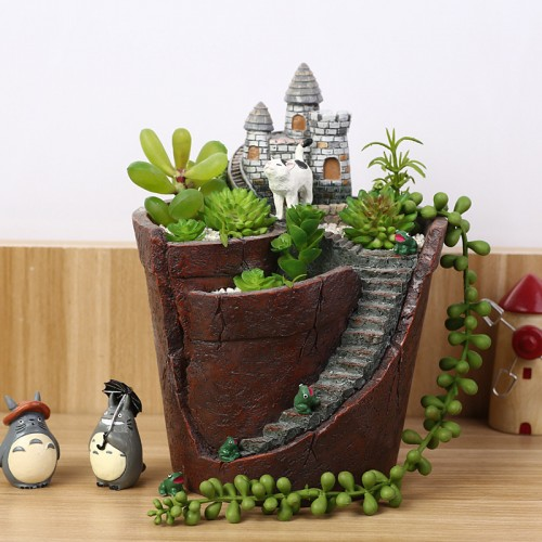 Creative Castle House Shaped Resin Garden Pot New Novelty Bonsai Plant Flower