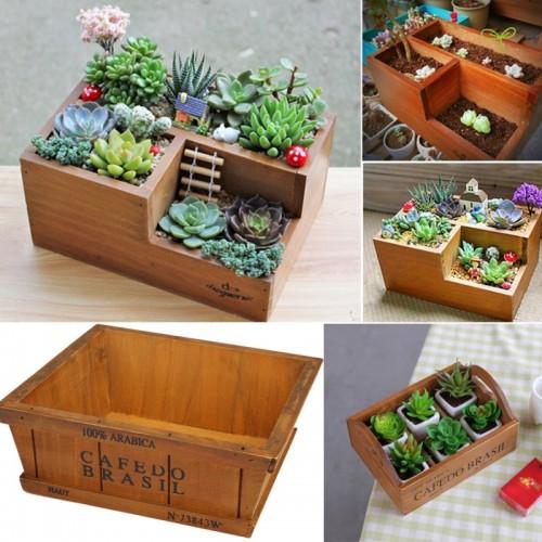 Garden Planter Window Box Wooden FlowerBoxes Trough Pot Succulent Flower