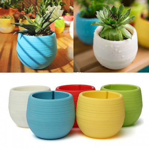 New Mini Flower Pots Flowerpot Garden Unbreakable Plastic Nursery Pots Home Office Decoration
