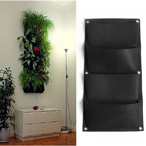 Pockets Black Hanging Vertical Wall Garden Planter Flower Planting Bags Pot Home