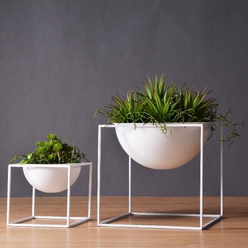 White Black Modern Tabletop Vase Metal Square Flower Plant Tray Cube Garden Planting Flower