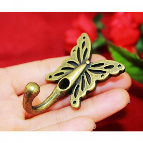 High Quality Butterfly Hooks European Style Antique Mural Hook Cabinets Wardrobe Vintage Coat Handle Bronze Tone
