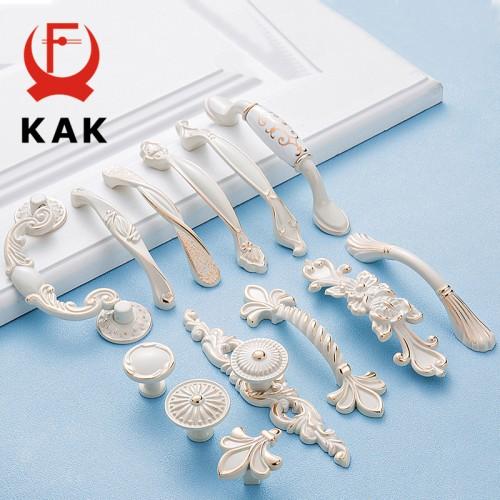KAK Zinc Aolly Ivory White Cabinet Handles Kitchen Cupboard Door Pulls Drawer Knobs European Fashion Furniture