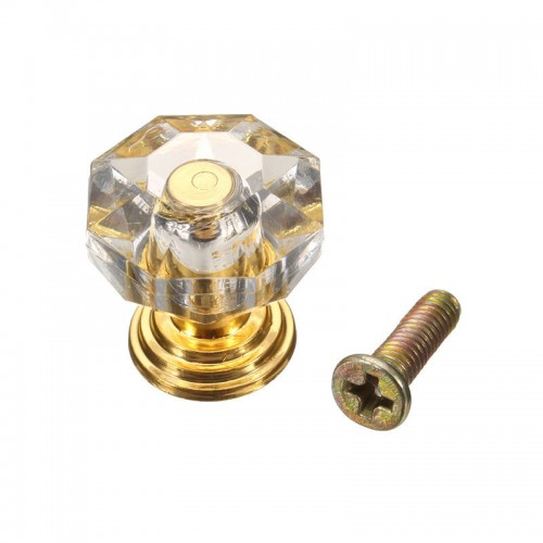 MTSPACE Silver Gold 18mm Crystal Clear Crystal Glass Door Pull Drawer Cabinet Furniture Handle Knob Screw