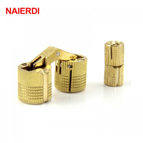 NAIERDI 4PCS 14mm Copper Barrel Hinges Cylindrical Hidden Cabinet Concealed Invisible Brass Hinge For Door Cabinet